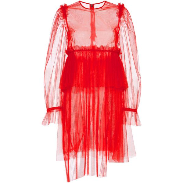 MSGM Pleated Tulle Peplum Dress (€735) ❤ liked on Polyvore featuring dresses, red, red tulle dress, transparent dress, msgm dress, tulle dress and red sheer dress