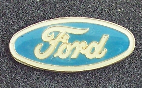 Ford Cars Blue Oval Blue and Cream Colored Lapel Pin Vintage Collectible