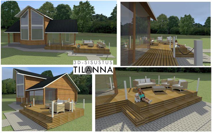 3D - terassisuunnitelma/ Hirsitalon terassin laajennussuunnitelma,  avoterassi,terrace plan / 3D-sisustus Tilanna, sisustussuunnittelija