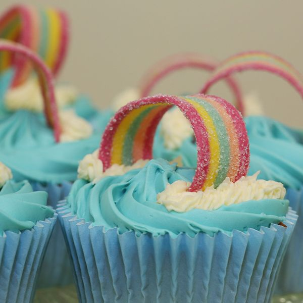 Rainbow cupcakes, kids party food ideas. Why not have our beautiful Rainbow Fairy attend your party too www.fairywishes.com.au