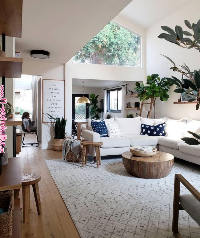 A Corner Sectional Doesn T Have To Go In A Corner It Can Also Define A Cozy Farmhouse Style Living Room Farm House Living Room Scandinavian Design Living Room