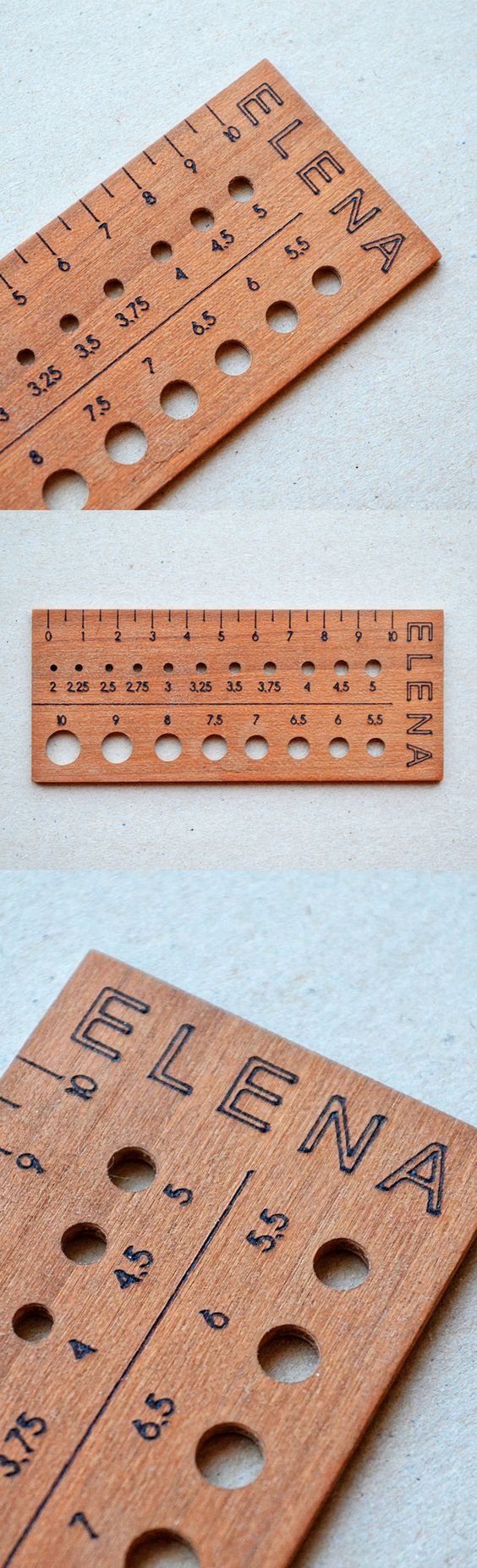 custom wooden knitting needle gauge with your personal text or name on it