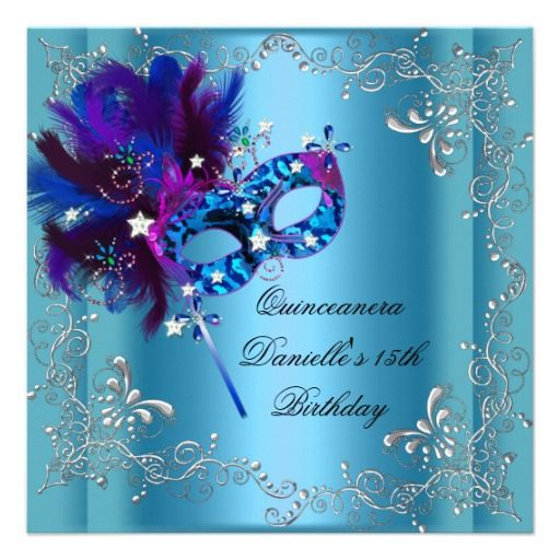 Quinceanera 15th Birthday Party Masquerade Blue Invite
