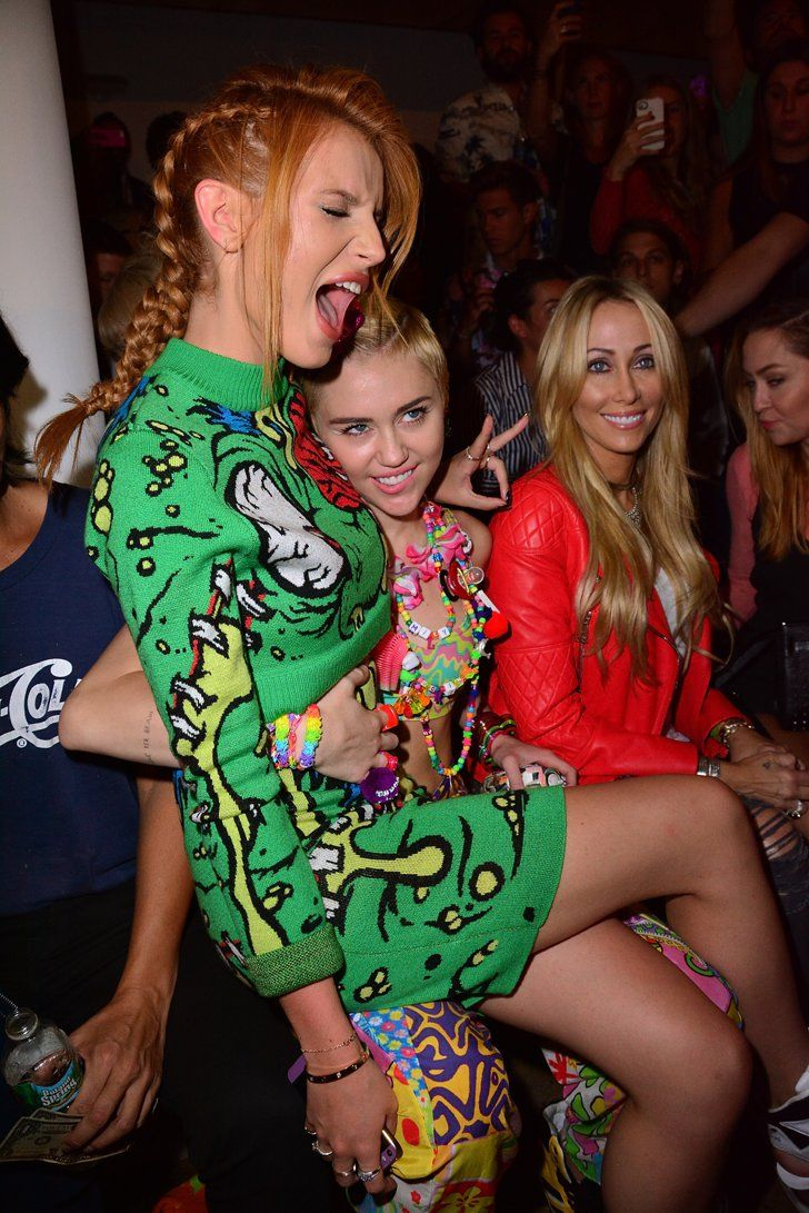 Pin for Later: It's Her Party and She'll Miley If She Wants To Bella Thorne and Miley Cyrus at Jeremy Scott
