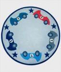 KIDS CONCEPT Ull Gulvteppe - 'Turbo' Blå m/Biler & Stjerner - Dette nydelig ull gulvteppet fra prisbelønte leverandøren Kids Concept er mykt og deilig og passer perfekt til barnerommet. Den er rund og har kule biler og stjerner motiv på. En del av den koordinerende 'Turbo' serien fra Kids Concept FRIFRAKT Kr 999