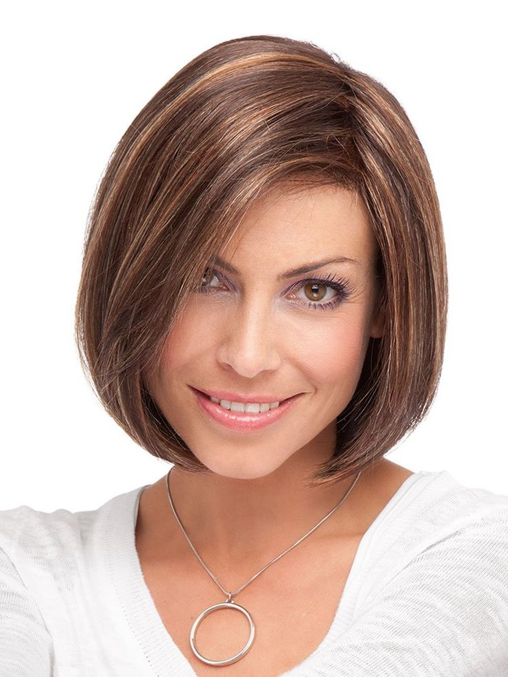 Short Angled Bob Natural Straight Synthetic Wig With Side