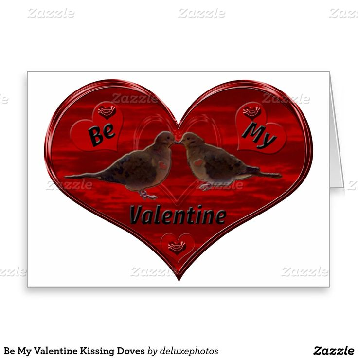 be my valentine kissing doves holiday card  zazzle