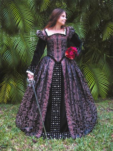 Silk Brocade Court Gown.    The pleating alone on the overskirt is amazing!