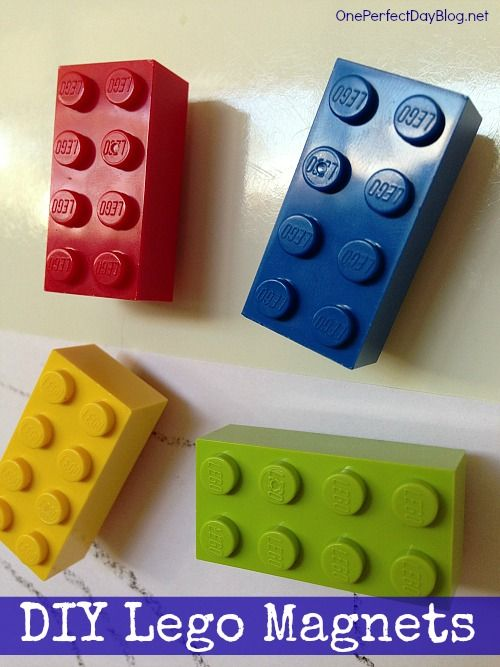 Super simple diy Lego fridge magnets. These are so cute. What a fun gift for a little Lego fan.
