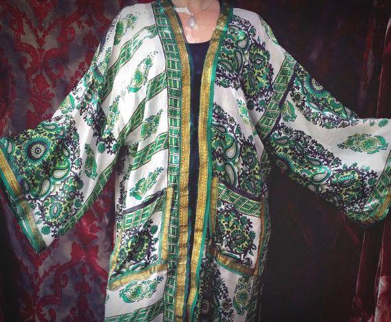Green Bohemian Kimono Sari Boho Hippie Robe Beach Coverup Chic L XL Plus - Free Shipping