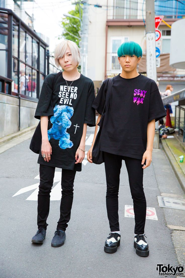 Shunya and Takahashi on the street in Harajuku wearing dark fashion from M.Y.O.B. NYC, More Than Dope, Milk Boy, Uniqlo, Demonia, Dr. Martens, and Chrome Hearts. Full Looks