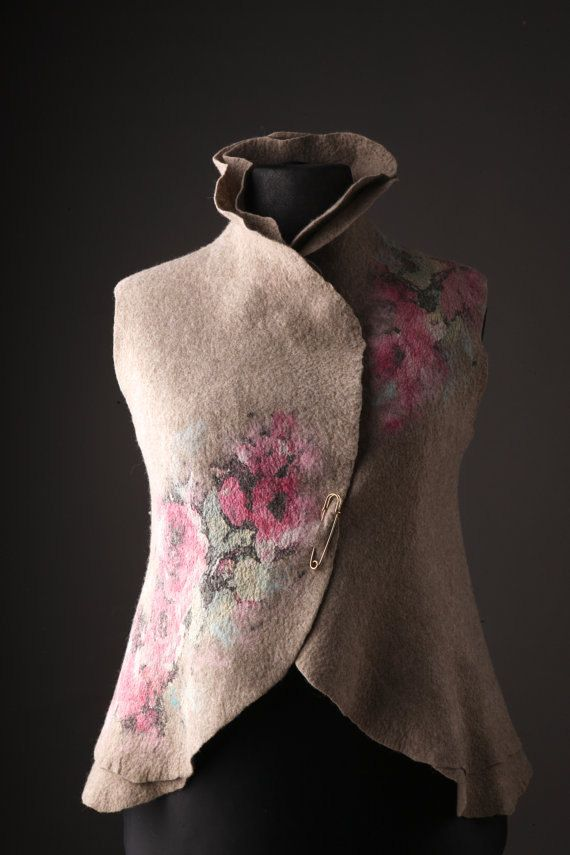 One-of-a-kind merino felt vest with flowers by HandMadeByPIC