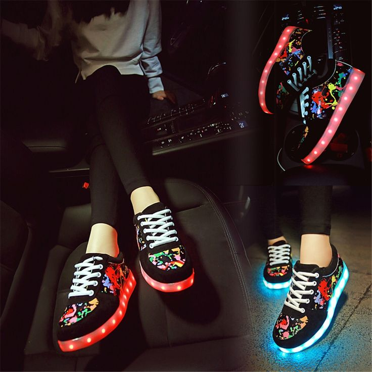 58.00$  Know more  - man 2016 LED Flash Luminous Light Up Shoes Adults Man Shoes USB Chagring Unisex Hot Fashion 11 LED Color Man&Unisex Size 6-15