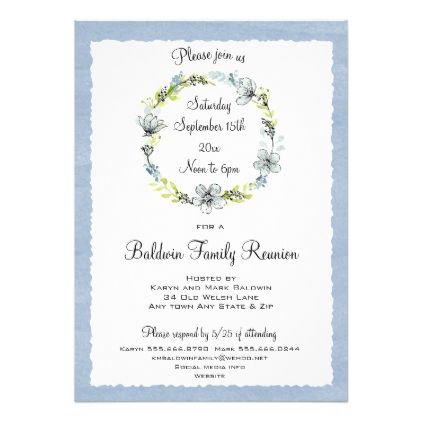 Blue Wreath Country Family Reunion Invitation  Family Reunion Invitation Cards