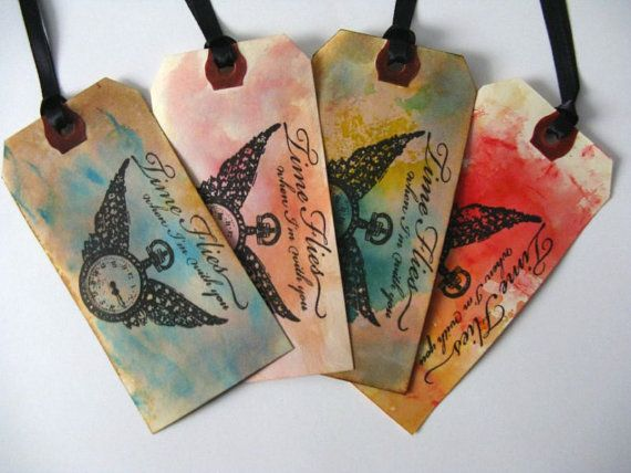 4 Distressed Gift Tags Set of 4 Time Flies When I'm by MouseGarden