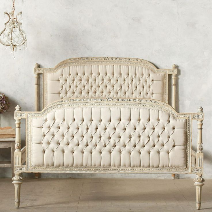 Eloquence one of a kind vintage full bed tufted off white for One of a kind beds