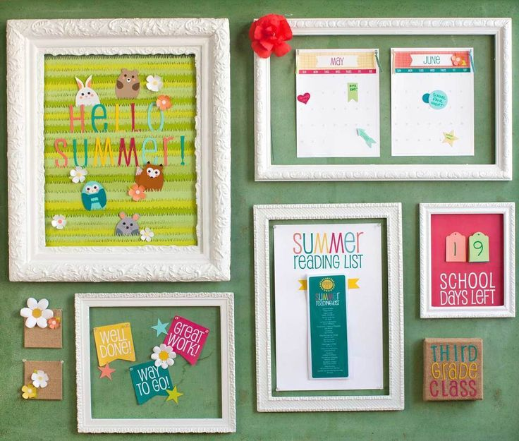 "Ready your classroom for back-to-school with a few bulletin board ideas! Consider making ""Welcome Back"" and ""Happy First Day"" framed art pieces and monthly calendars with important events."
