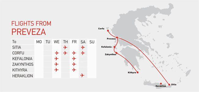 Flights from Preveza to Corfu, Kefalinia, Zakynthos, Kythira, Sitia, Heraklion > Sky Express   The airline of Crete