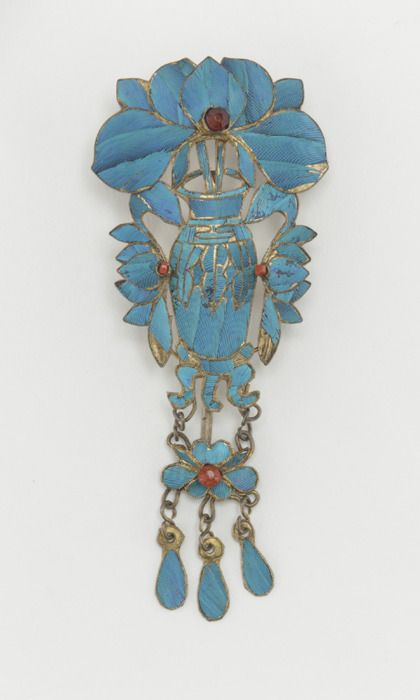 China, Hair Ornament, kingfisher feathers/glass/gilt metal, c. 1900.