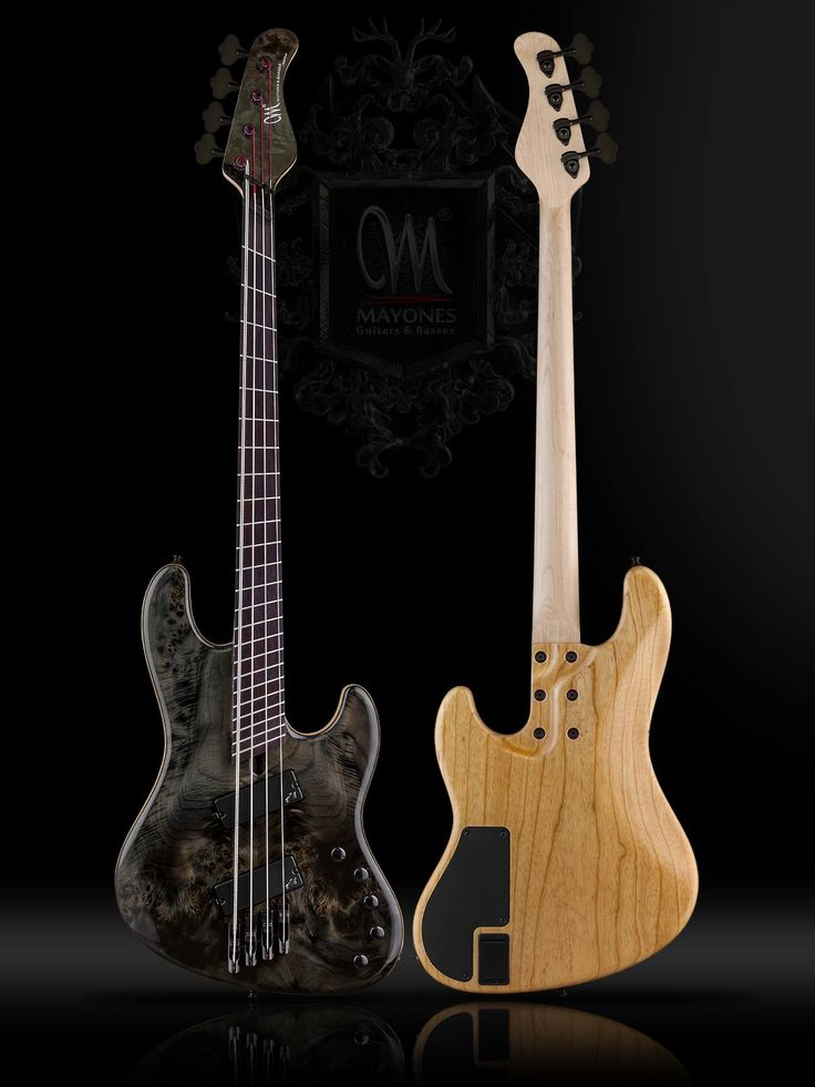 """Mayones Jabba Custom V-Frets 4, Eye Poplar top, Swamp Ash body back with Wenge middle, Transparent Black Gloss body front finish, 1-ply Hard Rock Maple neck, bolt-on construction, Rosewood fretboard, Scale: V-Frets 33"""" - 35"""", 24 jumbo frets, Luminlay SB-20 side dot markers only, Radius 20"""", Aguilar Amplification DCB G4 humbucker pickups, Darkglass Electronics Tone Capsule 3-band preamp, ABM High Quality German Guitar Parts GmbH 3710 monorail bridge"""
