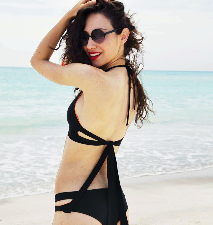 Nesea orange black, reversible bikini by FRida Querida Firenze . shop online www.fridaquerida.com