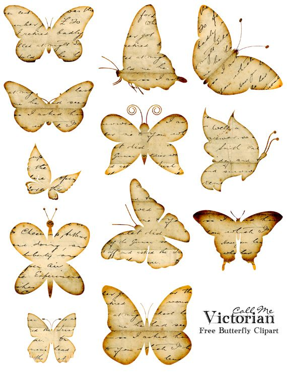 Free Butterfly Clipart Images - Distressed Handwriting Overlay | Call Me Victorian