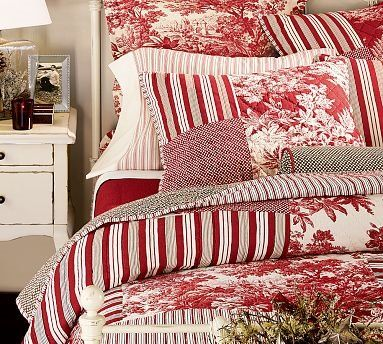 Love the red...and the white bed!  I want to make one....there is a site for that....http://ana-white.com/  Oh, I can pin her site.  This is so the way to go.