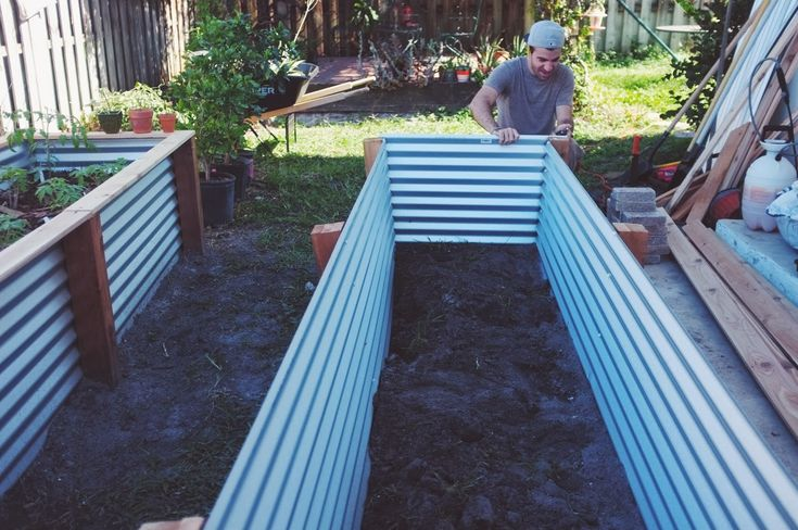 raised planters with corrugated metal sides | Our Raised Beds: Easy Metal & Wood Garden Bed How To / DIY