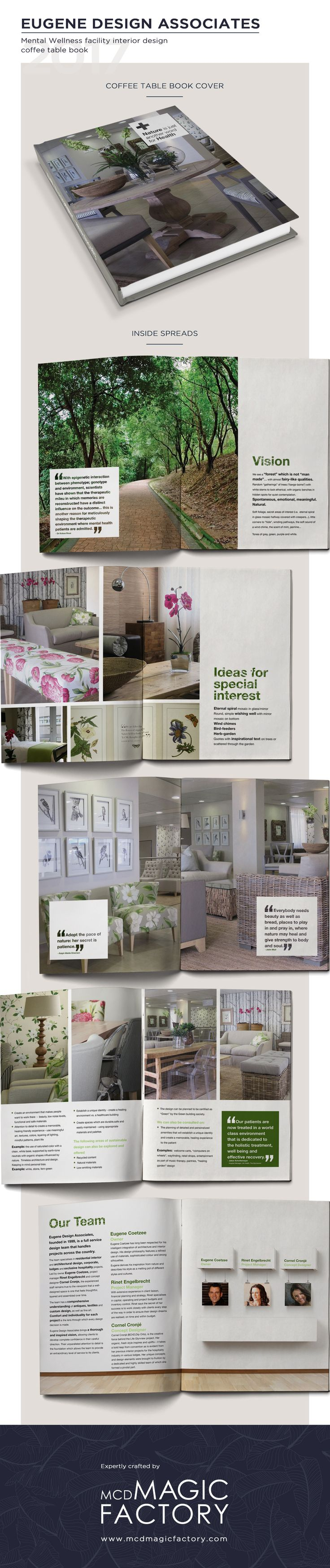 Client: Eugene Design Associates | Year: 2010 | Design of a coffee table book a mental wellness centre. The book doubled as a great way for the company to showcase their work.