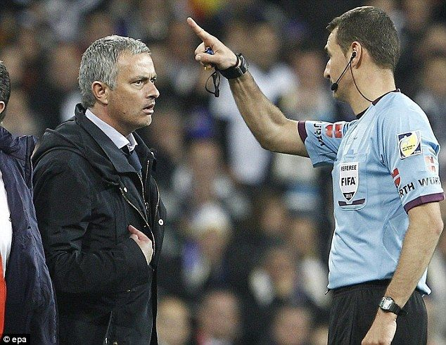 Real disappointment: Jose Mourinho was sent off as Madrid crashed in the Copa del Rey final to rivals Atletico last Friday in what heralded a bitter end to his stint at the Bernabeu  I don't understand this sending off. Except that this is the same ref Jose called out in a press conference by listing 13 mistakes he made during a previous game.