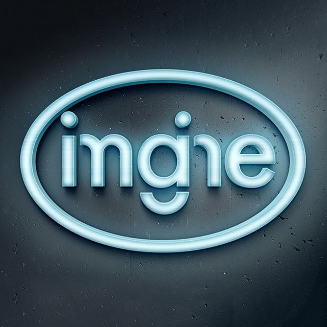 A logo concept for a fictional business called 'Imagine'. The idea is to get the viewer to look and figure out what it says at first.