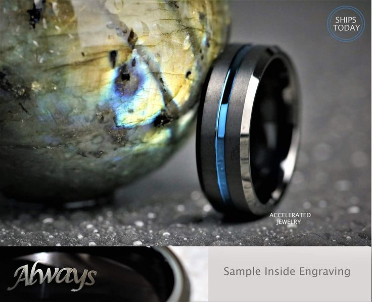 8MM Mens Black Satin Tungsten With Blue Groove Wedding, Engagement, Anniversary Ring,  Custom Laser Engraved Inside by AcceleratedJewelry on Etsy https://www.etsy.com/au/listing/495929322/8mm-mens-black-satin-tungsten-with-blue