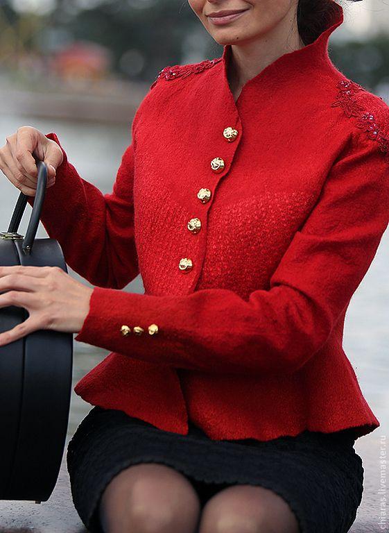 """Купить дизайнерский жакет ручной работы """"роковой красный"""" - ярко-красный, дизайнерский красный"""