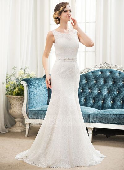 Trumpet/Mermaid Scoop Neck Sweep Train Satin Lace Wedding Dress With Beading Sequins (002054357)