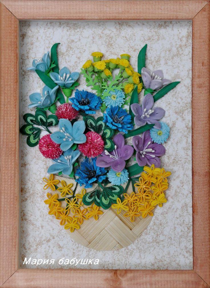 quilling, квиллинг, полевые цветы, колокольчики, маргаритки,клевер,пижма, васильки, бумажные полоски, панно, flowers, пассифлора
