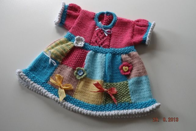 Knitting Pattern PDF Patchwork Judy Baby Dress £2.50