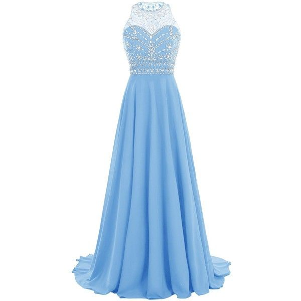 Bbonlinedress Women Long Chiffon Beadings Scoop Prom Party Dresses... ($107) ❤ liked on Polyvore featuring dresses, gowns, blue dress, long beaded gown, blue homecoming dresses, blue ball gown and long homecoming dresses