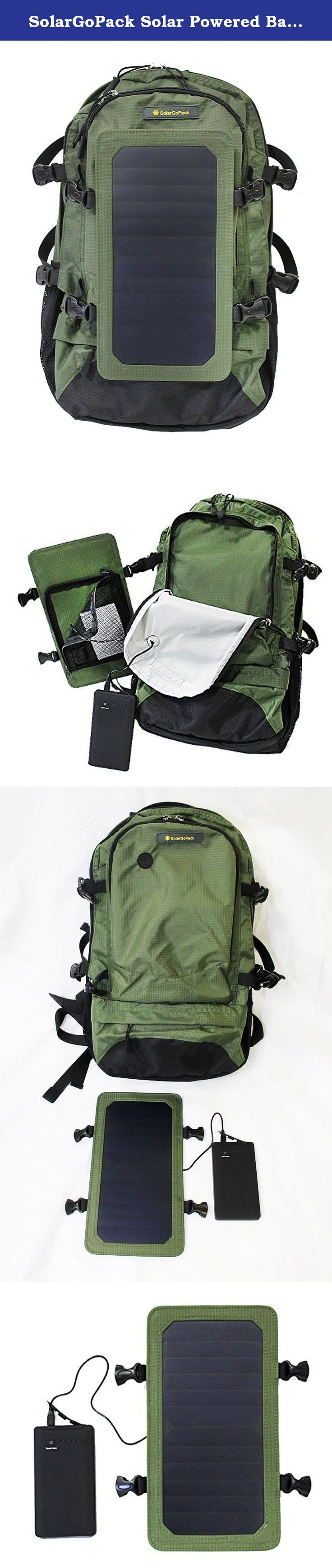 SolarGoPack Solar Powered Backpack / 7 Watt Solar Panel and 10K mAh Charging Battery Daypack / Phone and Electronic Device Power Charger Back Pack / Army Green. Enjoy free unlimited on-the-go power with this SolarGoPack solar panel backpack! This solar charging backpack uses the power of the sun to keep electronic devices such as smartphones, GPS units, tablets, E- readers, Bluetooth speakers, cameras, and more powered up and ready for use. This is the perfect choice for any outdoor or...