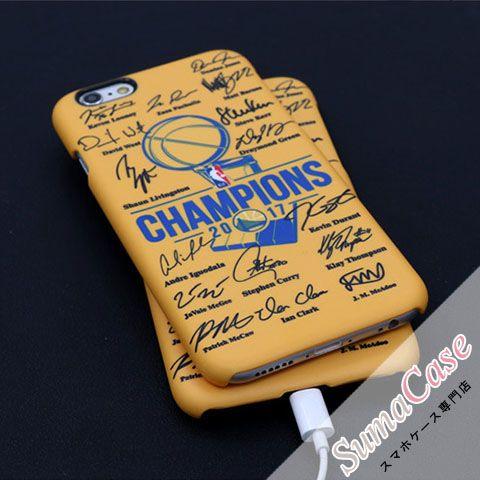 NBA(エヌビーエー)ブランド チャンピオン2017 ゴールデンステート・ウォリアーズ ステフィン・カリー ケビン・デュラント 全員サイン入り スクラブ カバー型 PCハードケース for iPhone8/7S/7/6S/6/Plus