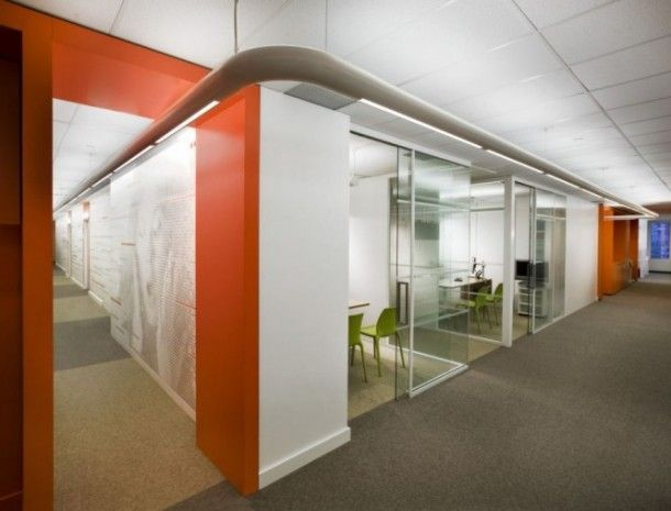 Glass partitioned offices
