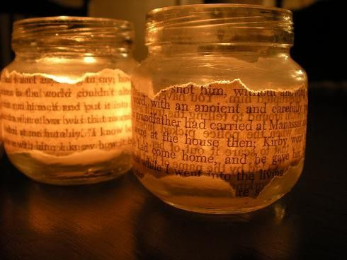 book-page votive/tea light holders - The only problem with this is that some book would be harmed in the making of this craft. I mean, you don't want to go and use something you wouldn't want to *read,* after all. Because, after all, I will be reading it. I can't help myself.
