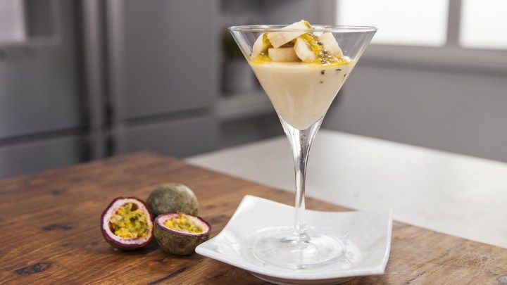 Caramelised White Chocolate Mousse with Coffee, Banana and Passionfruit