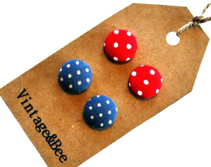 Blue Red & White Polkadot Earring Set by VintageandBee on Etsy, $15.00