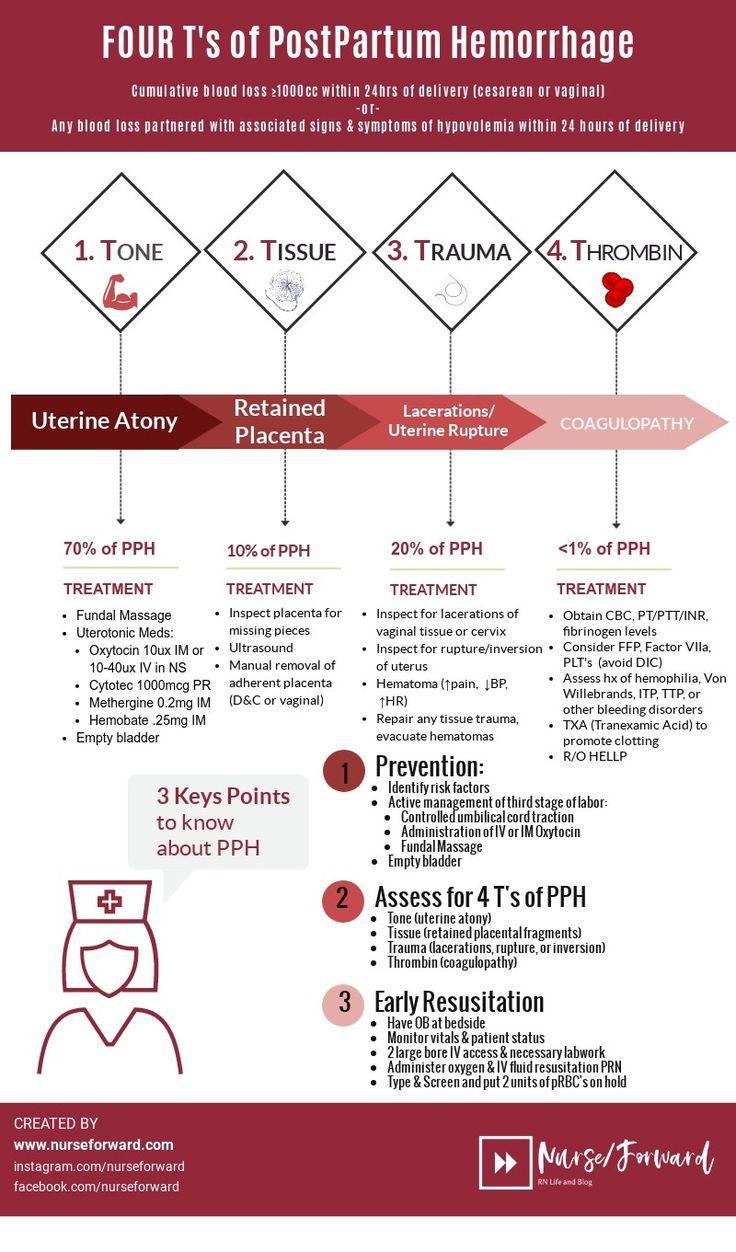 Nurse Infographic Four T's Postpartum Hemorrhage Women's