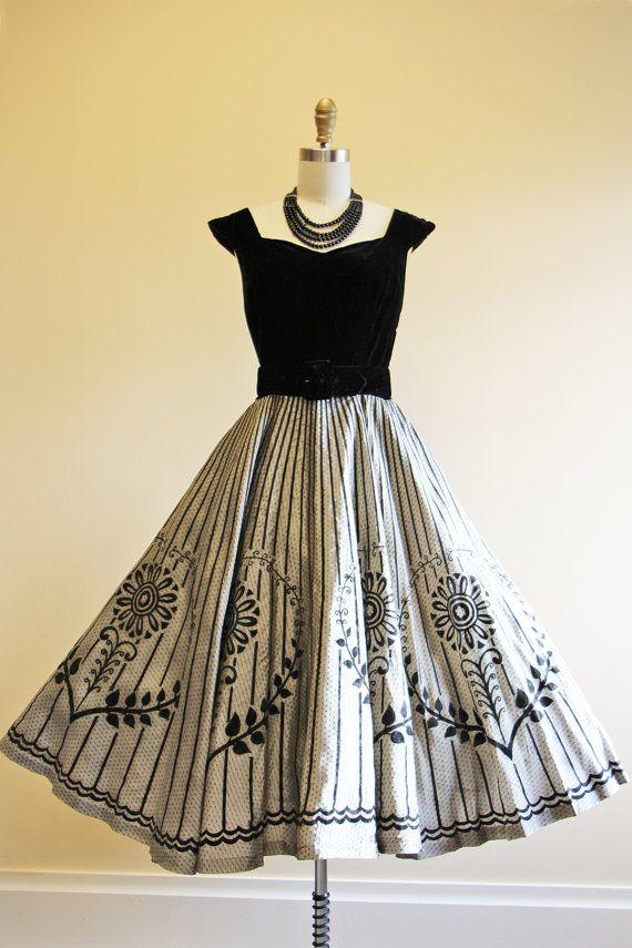 50s Dress Vintage 1950s Dress Black Silver Flocked by jumblelaya