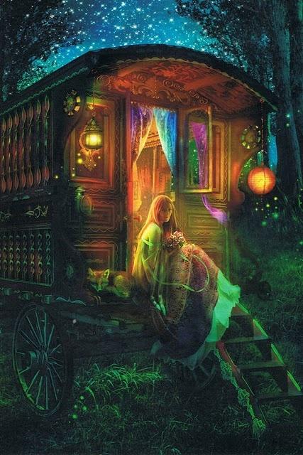 tacky and beautiful ;-) gipsy caravan at night and lady
