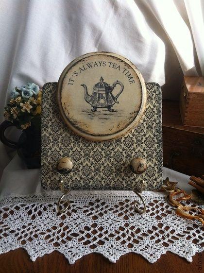 """Доска для кухонной утвари """"Время чая"""" - кухня,кухонная утварь,кухонные принадлежности"""