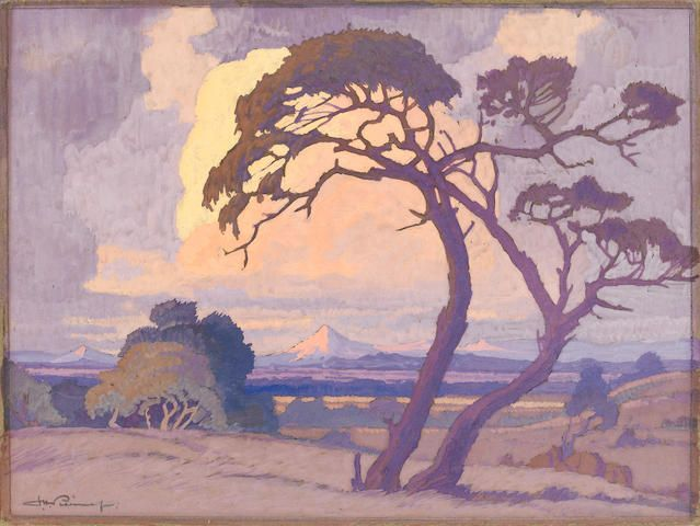 Jacob Hendrik Pierneef (South African, 1886-1957) Thorn tree at dusk