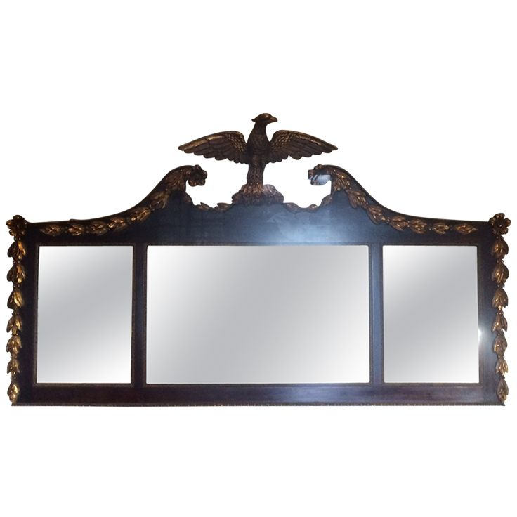 19th-Century Federal Style Eagle Crested Monumental Over Mantel Mirror