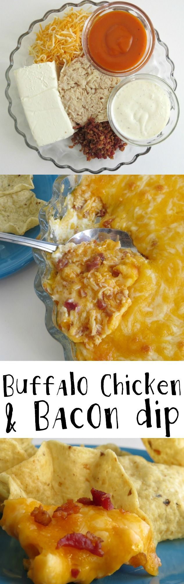 Buffalo Chicken & Bacon Dip recipe great Game Day party food favorite- it's a super easy recipes, too!